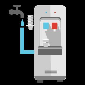 Illustration eines Kaffeevollautomaten mit einer Tasse frisch gemahlenem Kaffee und aromatischen Kaffeebohnen